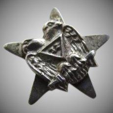 Vintage Sterling Silver Masonic Double Eagle Head Screwback Lapel Pin