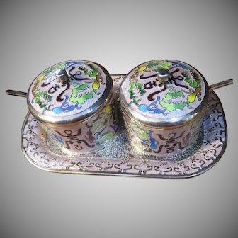 Vintage Silver Sterling Enamel Condiment Jars and Tray Korea Korean