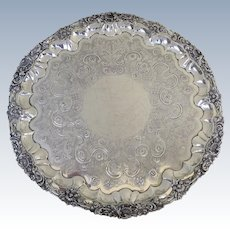 """Huge Monumental Sterling Silver Salver Tray by Charles Stuart Harris London 203 Troy Ounces 24"""" Diameter"""