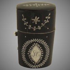 Small Etui Case Inlaid Silver Perfume Bottle 18th Century
