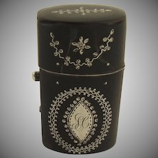 Small Etui Case Inlaid Silver Perfume Bottle 18th Century