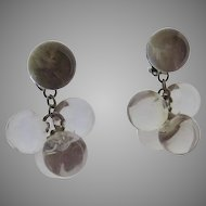 Vintage 60's Cluster Dangle Lucite Bauble Earrings