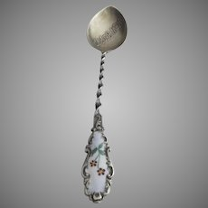 "19th Century ""New Bedford"" Sterling Enamel Souvenir Spoon"