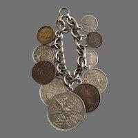 Vintage Sterling Chain Bracelet British Coins Charms