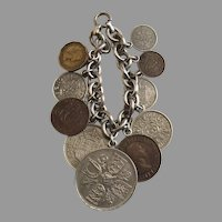 Vintage Sterling Chain Bracelet British Coins Charms