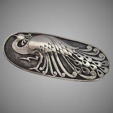 Vintage Sterling Silver Signed BUGLINO Large Peacock Brooch Pin