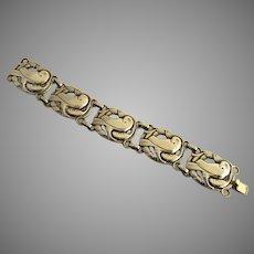 Vintage 1940's 1950's Norseland Sterling Silver Link Bracelet Signed Dove Bird