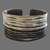 Very Wide Sterling Silver Cuff Vintage Bracelet Large