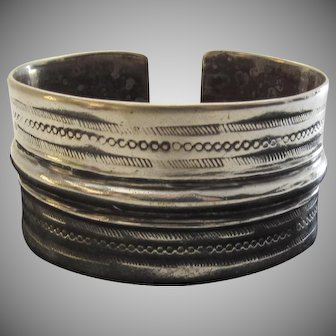 Very Wide Sterling Silver Cuff Vintage Bracelet Large