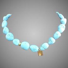 """Vintage Turquoise Stone Vermeil 16"""" Necklace"""