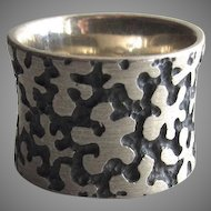 Vintage Sterling 925 Wide Band Ring Mod Flowers
