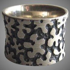 Vintage Sterling 925 Wide Band Ring Mod Flowers