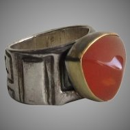 Vintage Sterling Silver Amber Bezel Set Ring
