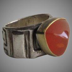 Vintage Sterling Silver Amber Bezel Set Ring