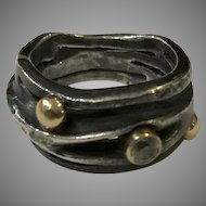 Vintage Ring by Fred and Janis Tate, Austin, Texas White Sapphire Gold Accents Oxidized Sterling