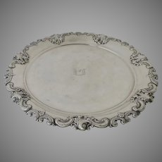 """Vintage Wallace Sterling Round Tray Hebrew """"To Life"""""""