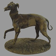 Bronze Greyhound Dog Sculpture by Alphonse Giroux c 1860