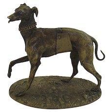 Bronze Greyhound Dog Sculpture by Alphonse Giroux c 1860