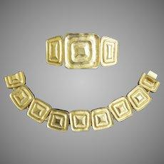 """Vintage """"Les Bernard"""" Modernist Gold Tone Bracelet and Brooch Pin"""