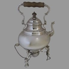 English Sterling Silver Queen Anne Style Kettle on Stand c 1928