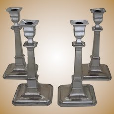 Set of Four Large Matching 18th Century Pillar Candlesticks Sheffield Fused Silver Plate