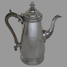 English Sheffield Fused Plate Silver Coffee Pot Family Crest Stag Crown c 1800