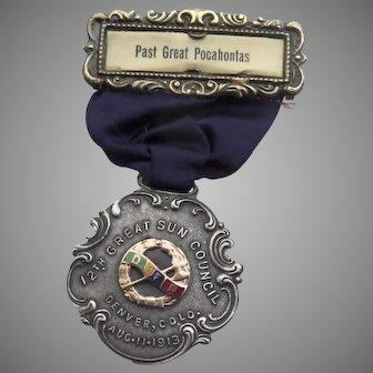 Great Pocahontas Great Sun Council 1913 Denver, Colorado Silver Enamel Medal