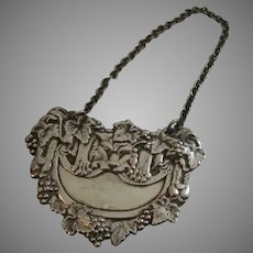 Large Vintage Silver Plate Decanter Tag Grape Vines Lion Face