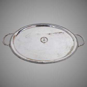 Early 19th Century Oval Serving Tray Lion Armorial Family Crest
