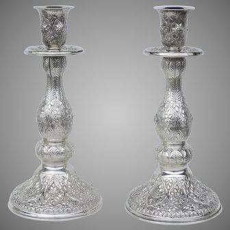 "Vintage Large Sterling Silver Candlesticks 16"" 925 Repousse"