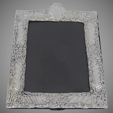 "Large Vintage Sterling Silver 925 RC Repousse Picture Frame 12 1/2"" Tall"