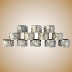 12 x Vintage 1940's Chinese Export Sterling Silver Napkin Rings Dragons