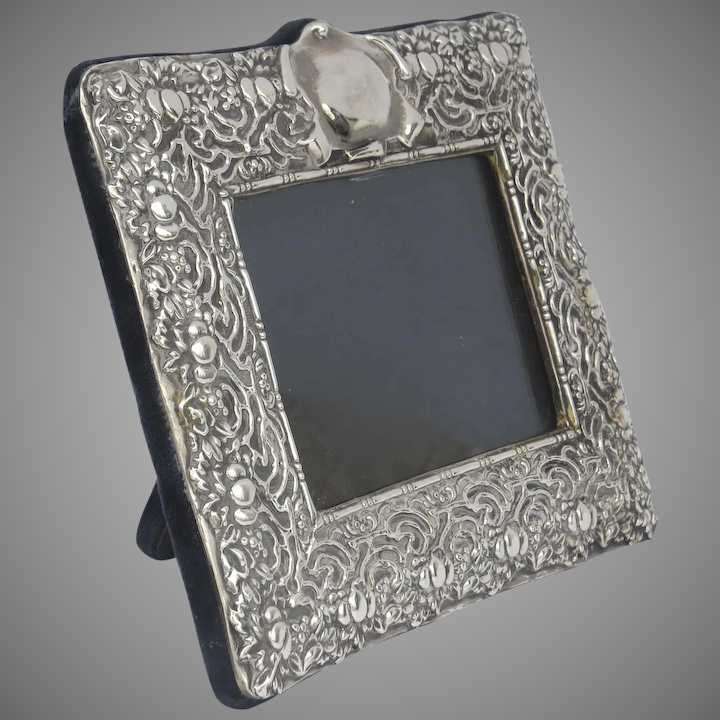 Large Vintage Sterling Silver 925 Rc Repousse Picture Frame 12 1 2 Tall