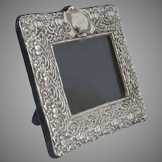 """Large Vintage Sterling Silver 925 RC Repousse Picture Frame 12 1/2"""" Tall"""