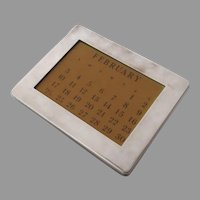 AMERICAN Sterling Silver Frame perpetual calendar by  The Thomae Co., Attleboro, Massachusetts, circa 1950