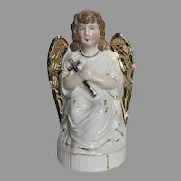 Late 19th Century Angel Holding Cross Gold Wings