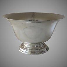 "Vintage Large Footed Sterling Bowl Steiff  ""Deus Pascit Corvos"""