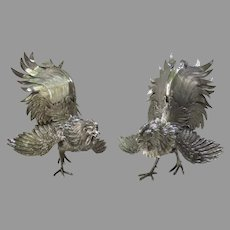 Pair Vintage of Silver Plated Cockerel Rooster Centerpiece