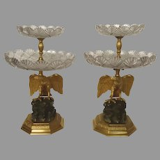 Pair of French 19th Century Ormolu Patinated Bronze Two Tier Dessert Stands Centerpiece Compotes Eagle Rock Motif