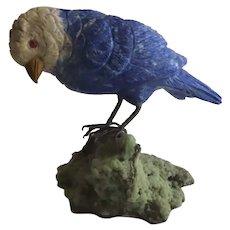 Vintage Carved Stone Parakeet Bird on Quarts Rock B.2647