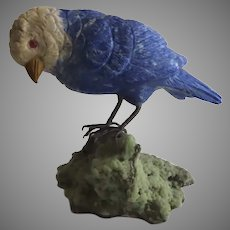 Vintage Carved Stone Parakeet Bird on Quarts Rock B.2647