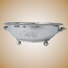 Early 1900's Tiffany Silver Plate Serving Bowl Side Handles