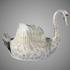 Large Vintage Silver Plated Centerpiece Swan Jardiniere