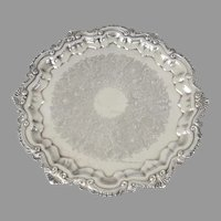 """Vintage Ornate Silver Plate 3 Footed Tray by Wallace 17"""" Chippendale"""
