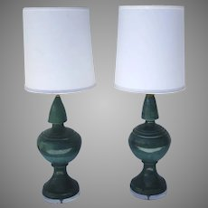 Pair of Vintage Tall Turquoise Pottery Lamps Great Color Spain Spanish Ceramic