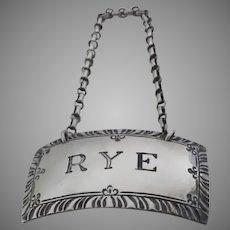 "Williamsburg Sterling Silver ""RYE"" By Kirk Stieff Decanter Label Tag"