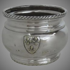Vintage 1900's Silver Plate Cache Pot Planter Applied Shield Fleur de Lis
