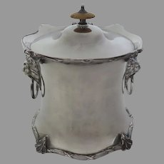 English Silver Plate Tea Caddy Biscuit Barrel Lion Head Handles