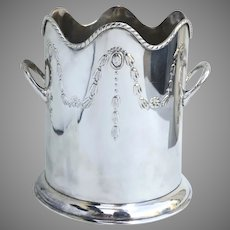 Large Vintage Silver Plated Wine Cooler Chiller Ice Bucket with Applied Handles Bell Flowers