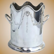 Large Vintage Silver Plated Wine Cooler Chiller Bucket with Applied Handles Bell Flowers